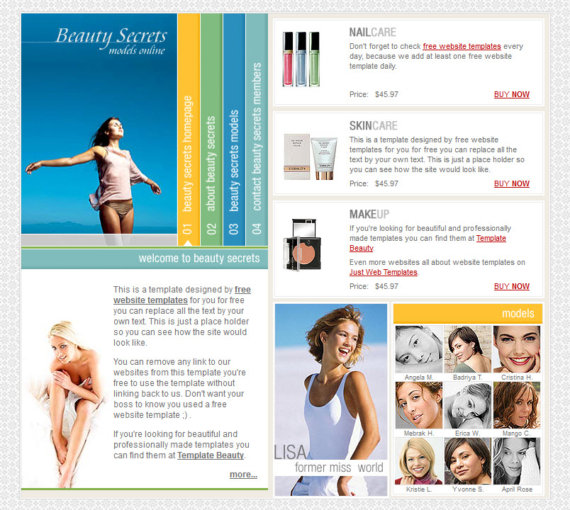 Beauty secrets template WM Online