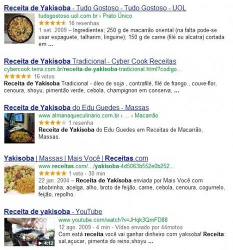 página de Yakisoba no Google